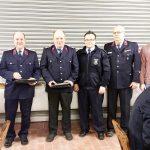 Ehrungen anlässlich 40 Jahre Mitgliedschaft in der Feuerwehr Warnstedt v.l.n.r. Rolf Kosock, Holger Kammerer, Bernd Fiedler, Markus Kammerer, Rainer Braune, Philipp Zedschack